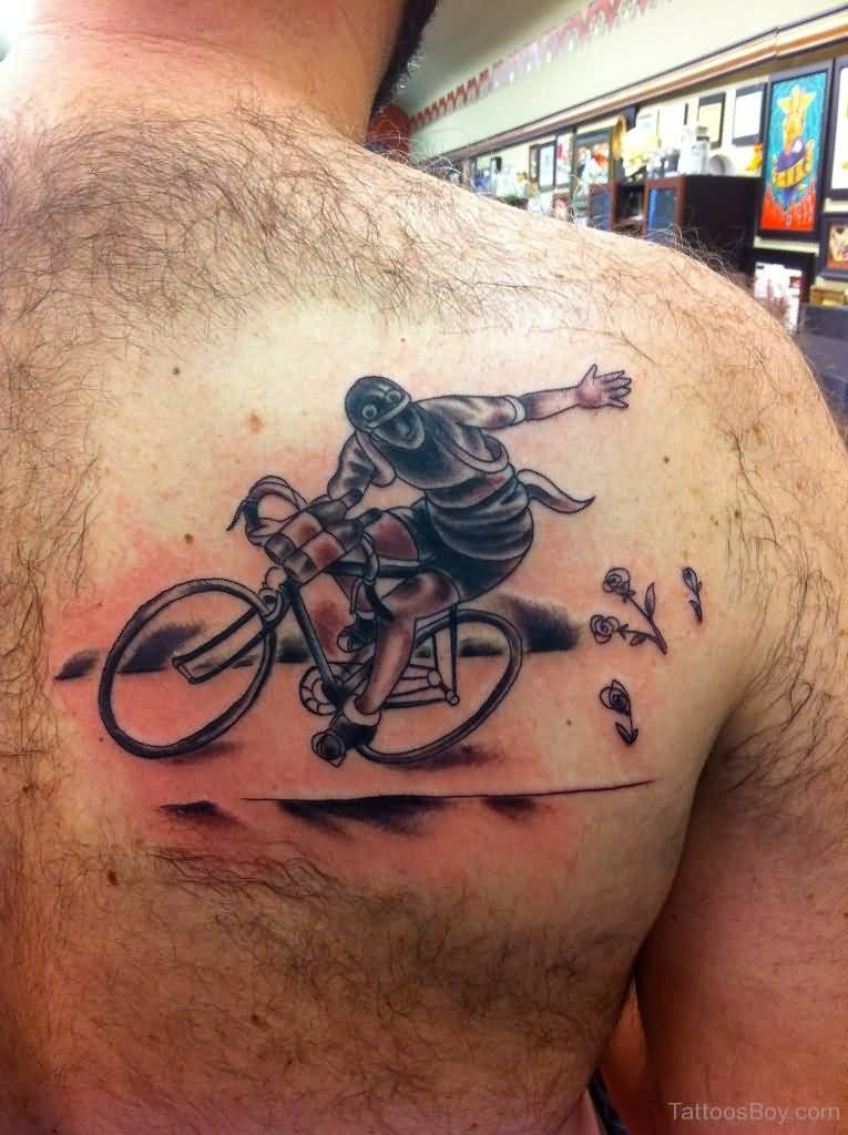 Upper Back Crazy Men On Bicycle Tattoo Idea For Men