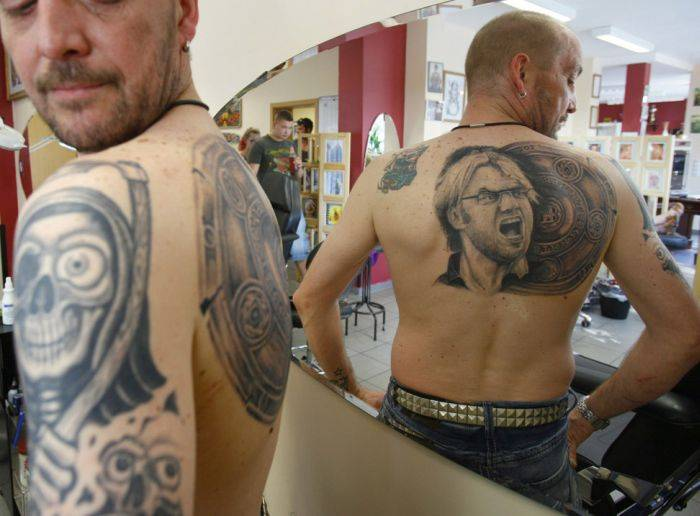 Upper Back Extreme Angry Face Tattoo