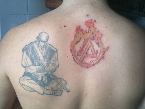 Upper Back Flame Linkin Park Tattoo Of Symbol