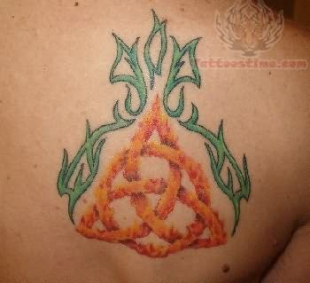 Upper Back Flaming Celtic Knot Pegan Tattoo