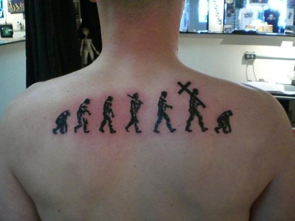 Upper Back Human Black Ink Science Tattoo For Men