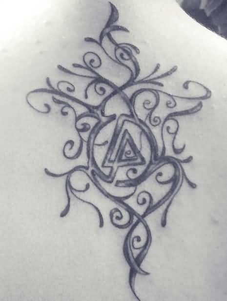 Upper Back Nice And Old Linkin Park Symbol Tattoo