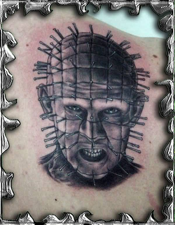 Upper Back Nice And Simple Pinhead Face Tattoo