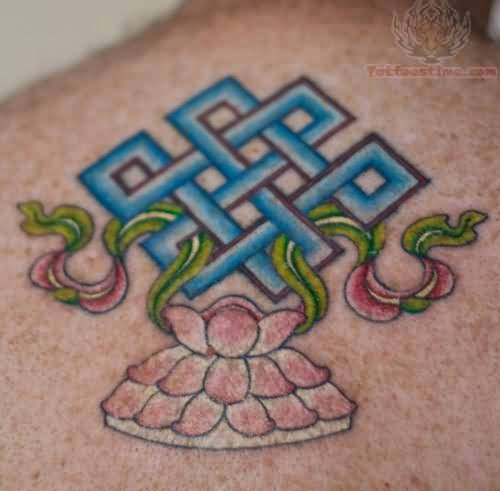 Upper Back Nice Blue Endless Knot Tattoo Design With Lotus Flower