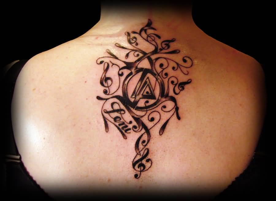 Upper Back Nice Linkin Park Letters Tattoo Design