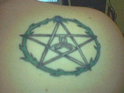 Upper Back Nice Pagan Star Tattoo Design Idea