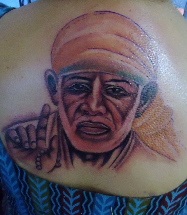 Upper Back Nice Sai Baba Face Tattoo