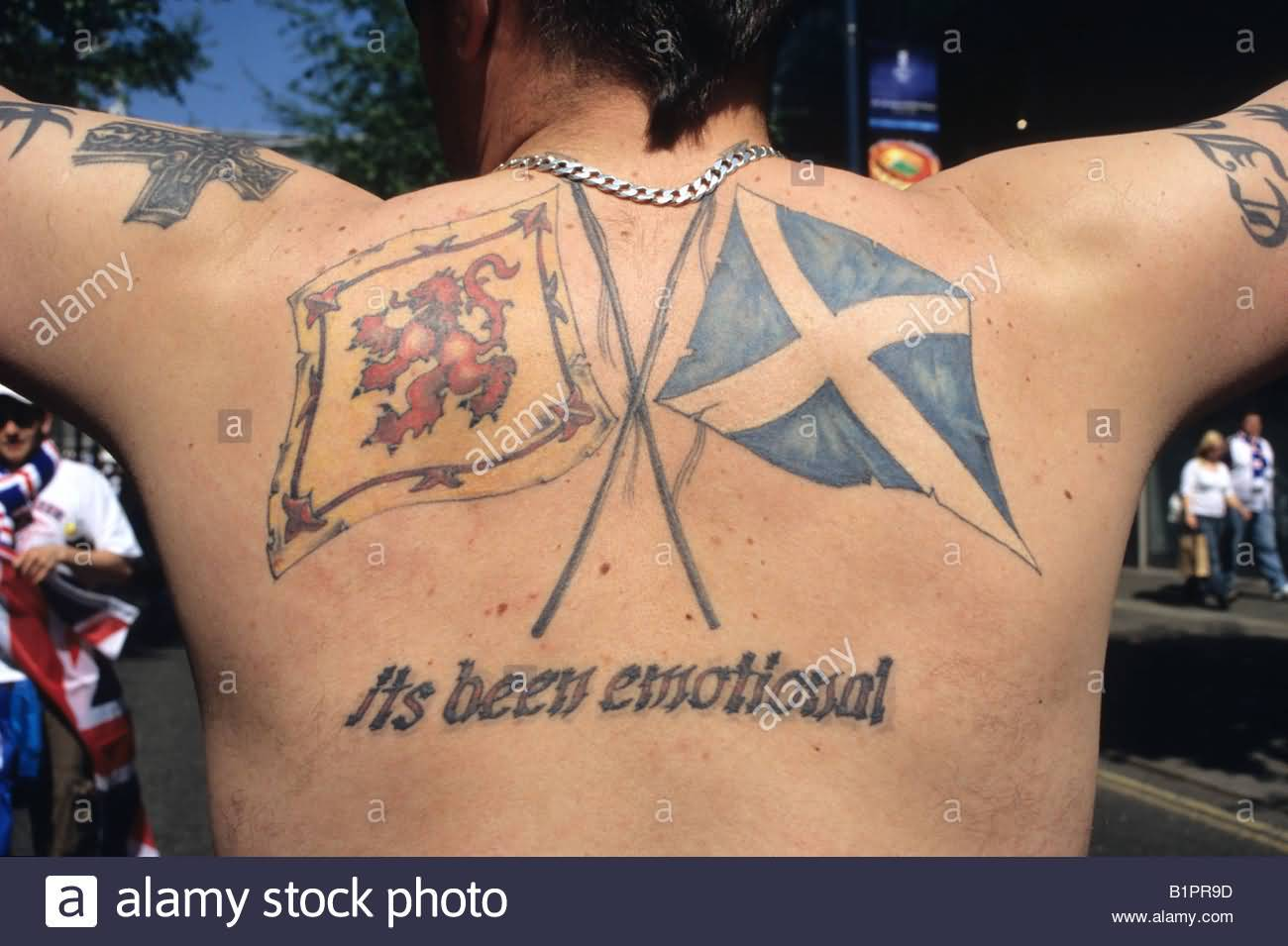 Upper Back Nice Scottish Flag Tattoo Design With Text