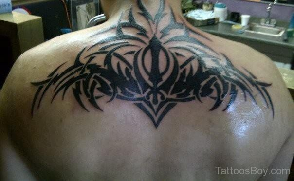 Upper Back Nice Tribal And Khanda Tattoo For Men
