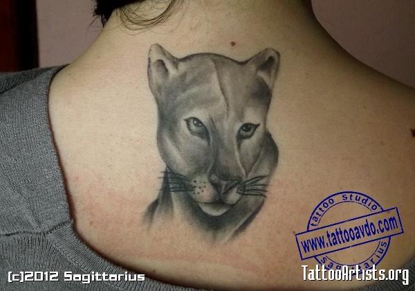 Upper Back Outstanding Puma Face Tattoo