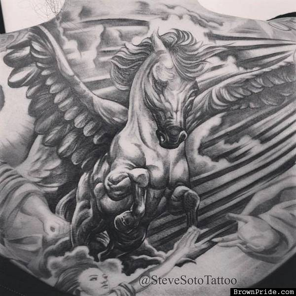 Upper Back Pegasus Tattoo By Grey Ink