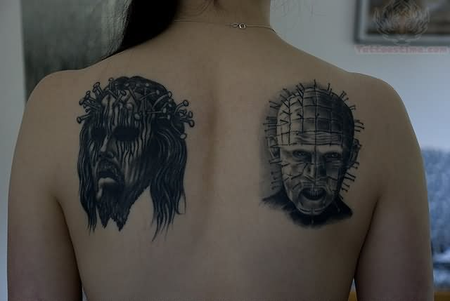 Upper Back Pinhead With Jeus Face Tattoo