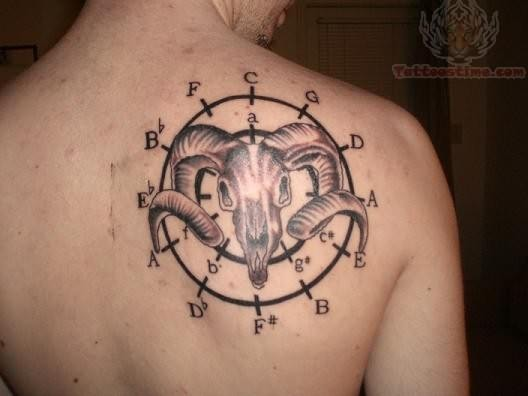 Upper Back Satan Head With Circle Symbols Tattoo
