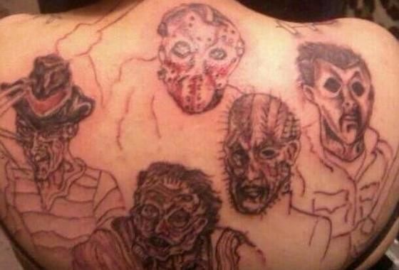 Upper Back Scary And Pinhead Tattoo