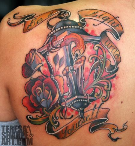 Upper Back Simple Candle Antique Lantern Tattoo