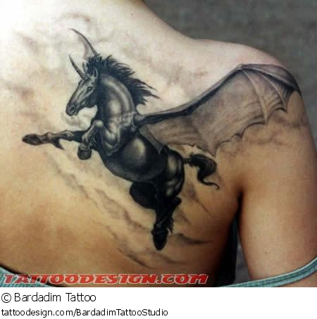 Upper Back Simple Pegasus Tattoo Design Idsa