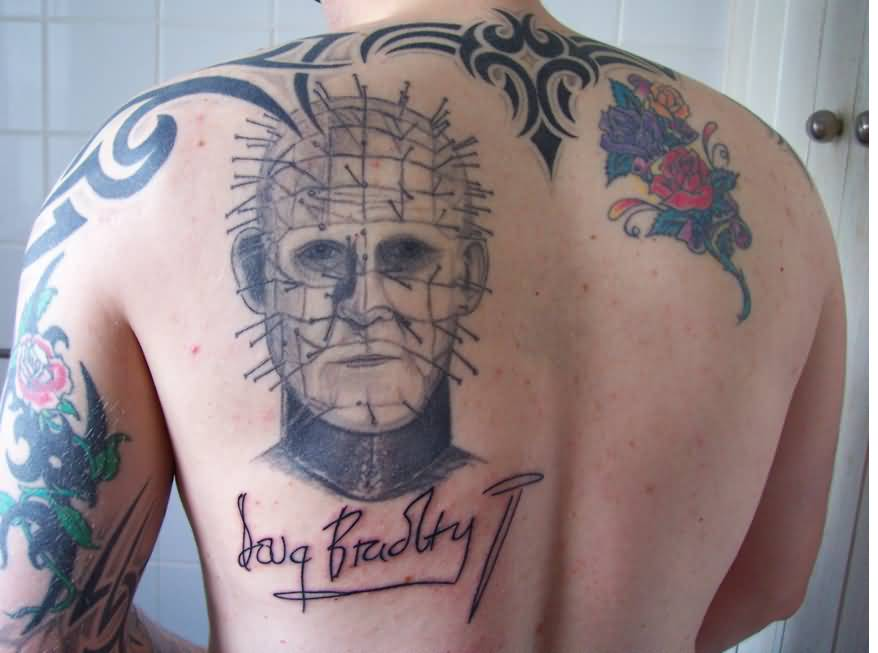 Upper Back Simple Pinhead Tattoo Design For Men
