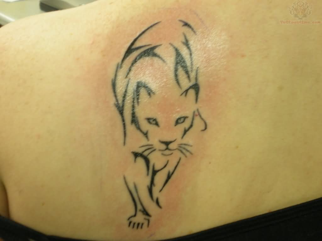 Upper Back Walking Puma Tattoo