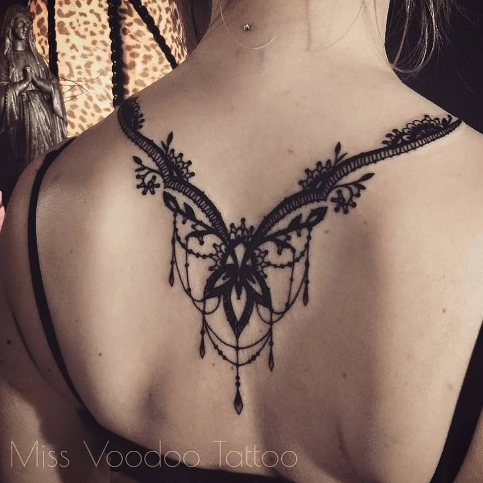 Upper Back Wonderful Necklace Tattoo