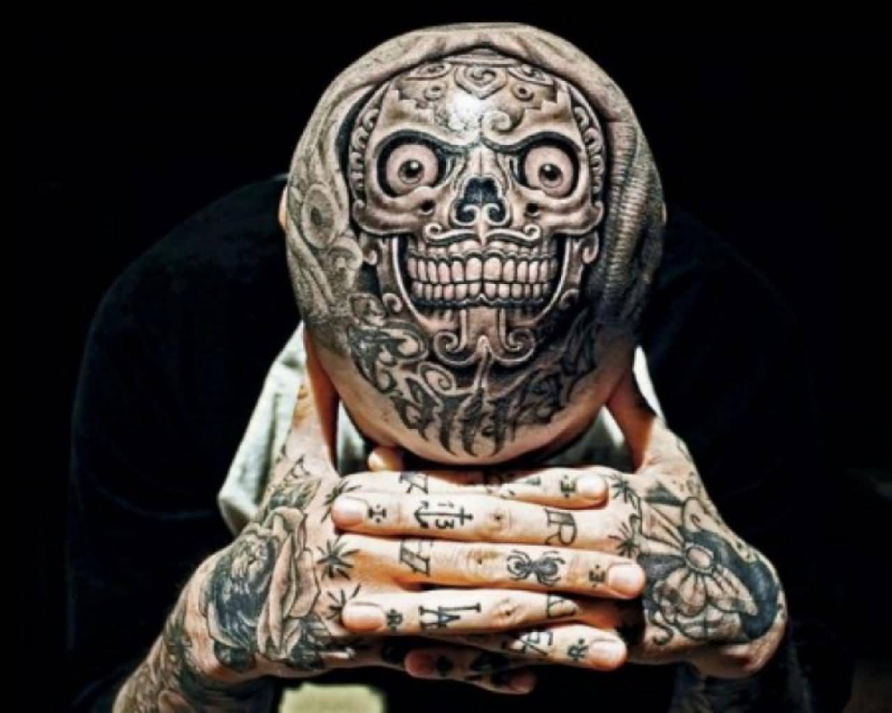 Upper Head Extreme Mask Tattoo