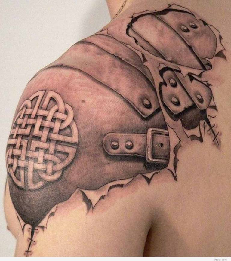 Upper Shoulder Celtic Awesome Ripped Skin Scottish Armor Tattoo