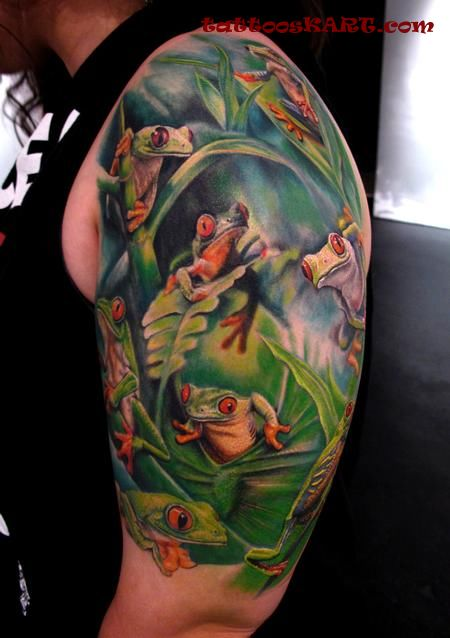 Upper Sleeve Design With Wonderful Reptile Frogs Tattoo