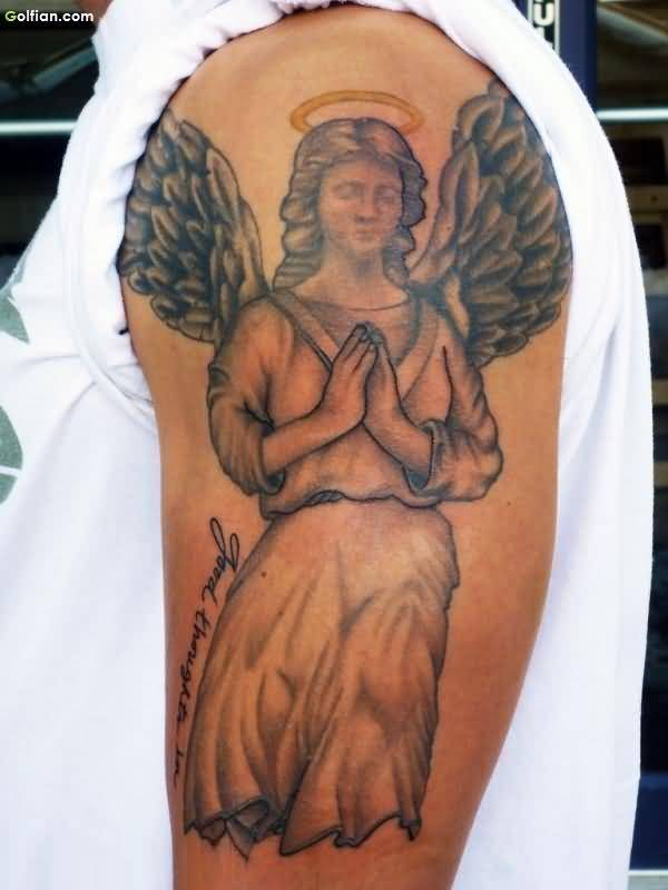 Upper Sleeve Nice Looking Praying Angel Tattoo