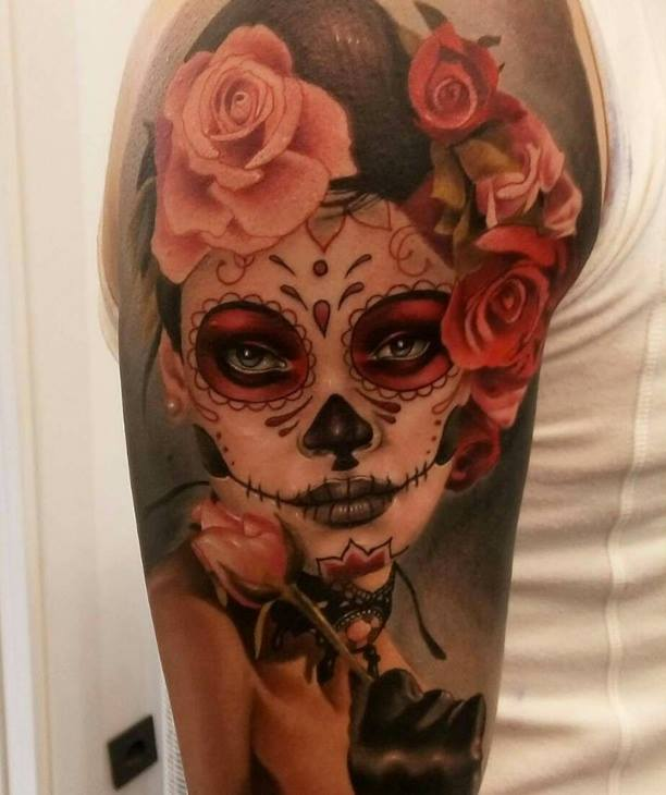 Upper Sleeve Nice Rose With Amazing Catrina Tattoo