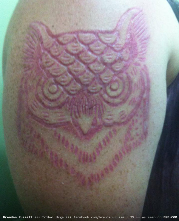 Upper Sleeve Nice Simple Owl Scarification Tattoo