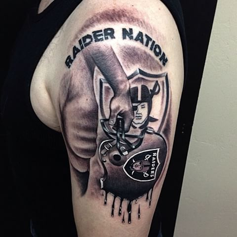 Upper Sleeve Oakland Raiders Melting Logo Tattoo