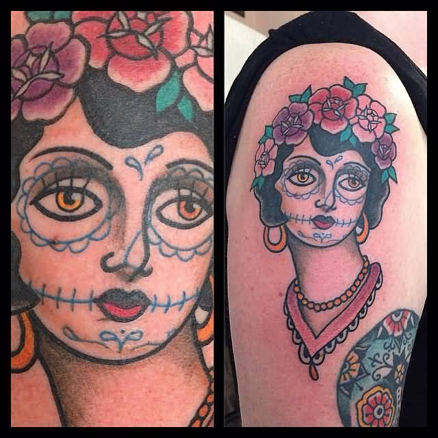 Upper Sleeve Old Catrina Tattoo