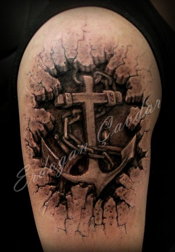 Upper Sleeve Outstanding 3D Ripped Skin NAvy Anchor Tattoo