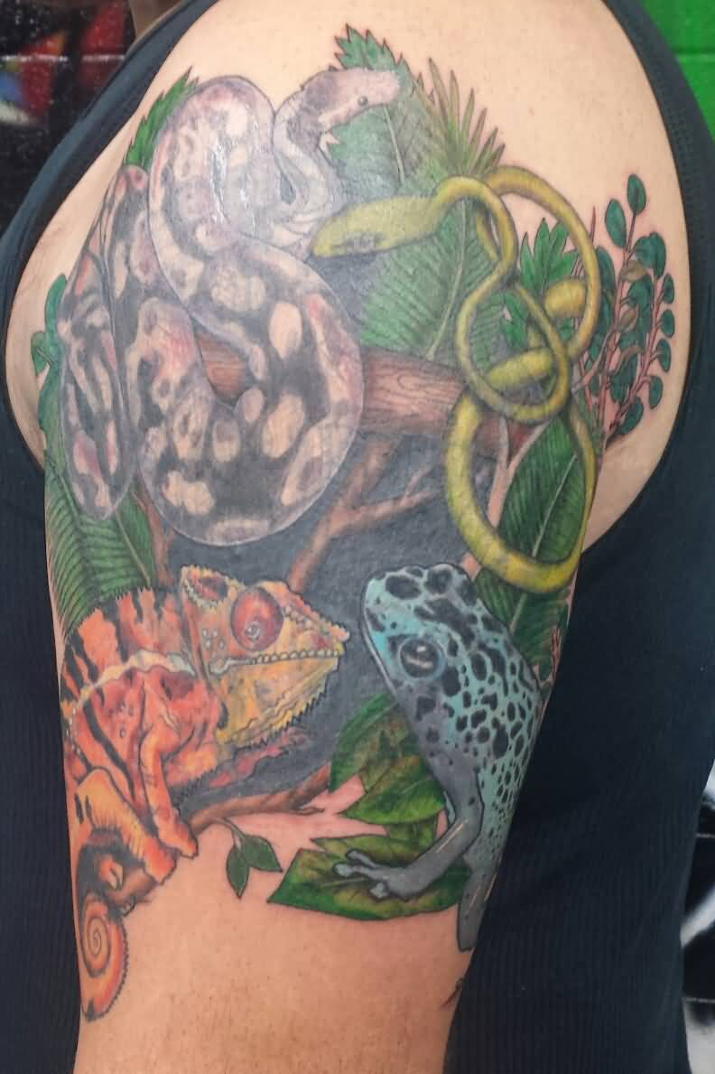 Upper Sleeve Simple Reptile Animals Tattoo