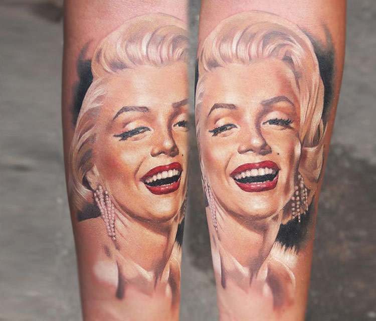 Valentina Ryabova Design A Awesome Marilyn Monroe Portrait Face Tattoo