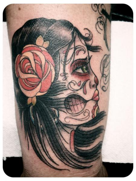 Vintage Catrina Girl Tattoo