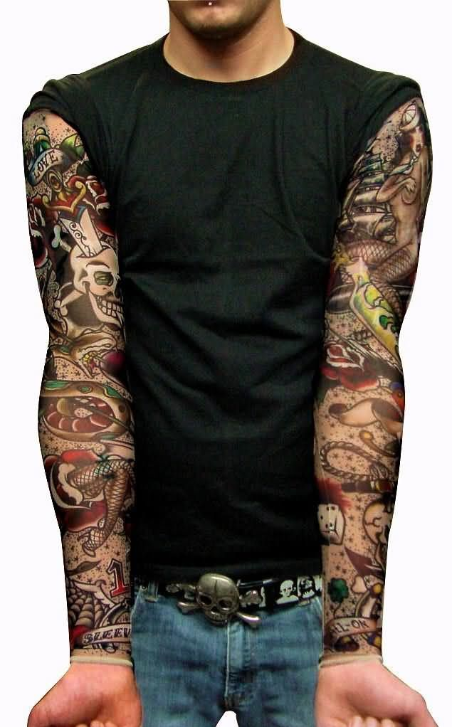 Vintage Full Sleeve Amazing And Nice Old School Tattoo