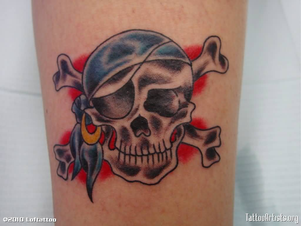 Vintage Jolly Roger Skull With Bones Tattoo
