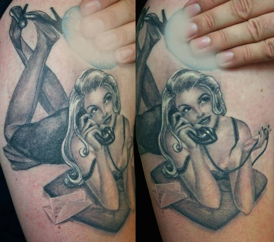 Vintage Pin Up Calling Girl Tattoo Made By Black And Grey Ink