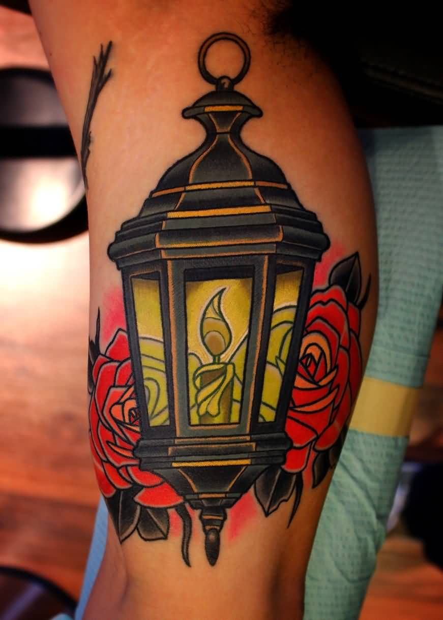 Vintage Victorian Lantern Tattoo Design With Rose