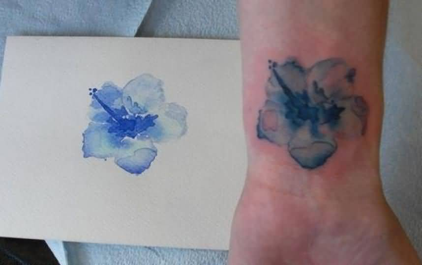 Watercolor And Nice Gladiolus Flower Tattoo Design
