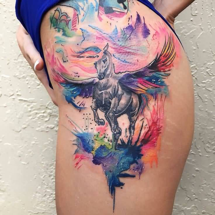 Watercolor Awesome And Mind Blowing Pegasus Tattoo Make On Girl Thigh