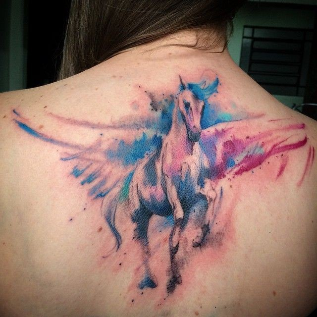 Watercolor Awesome Pegasus Tattoo Design Idea On Upper Back For Girl