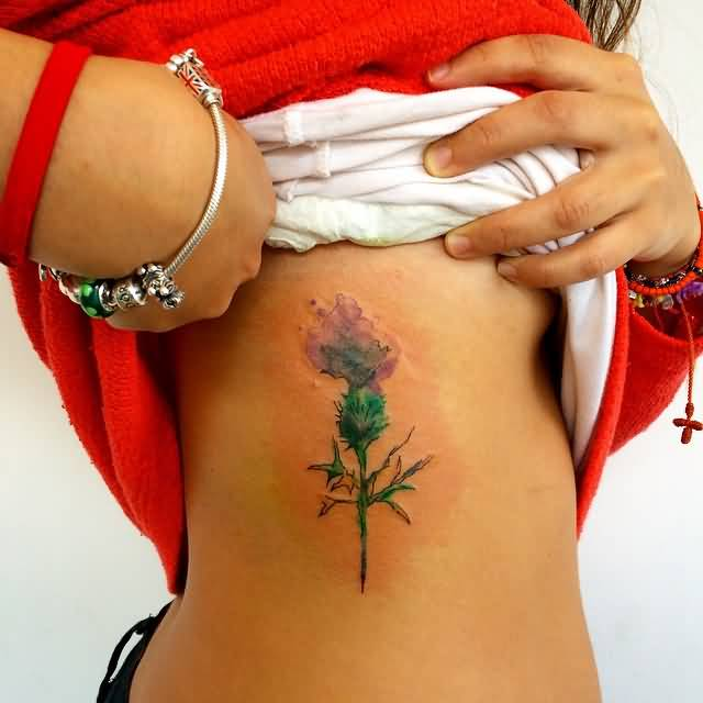 Watercolor Small Scottish Thistle Flower Tattoo On Side Rib
