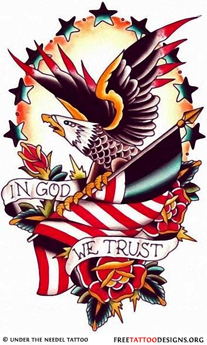 We Trust In God Nice Old School Eagle Tattoo Design Stencil