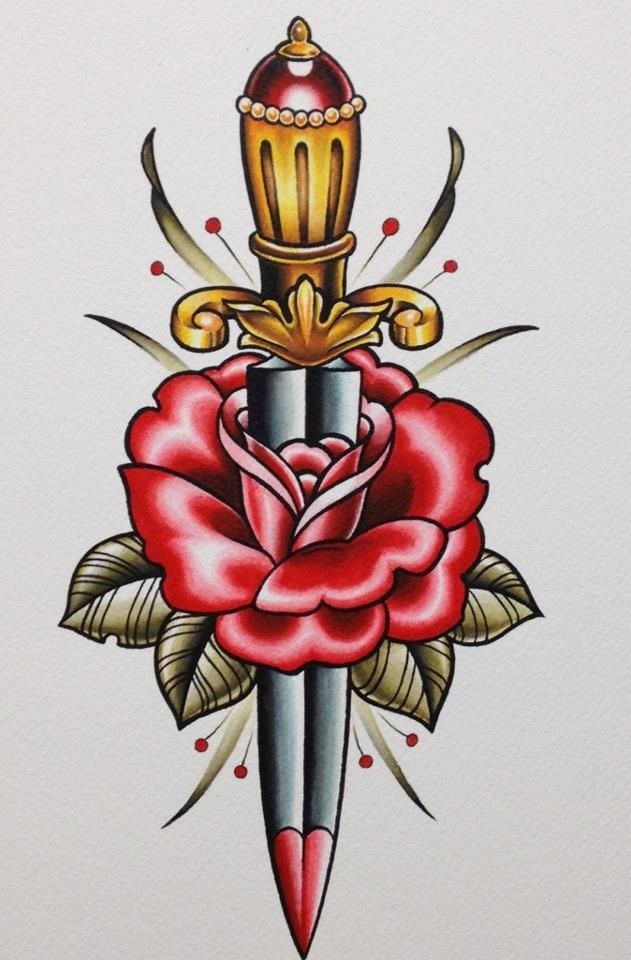 Weapon Sword In Nice Old School Flower Tattoo