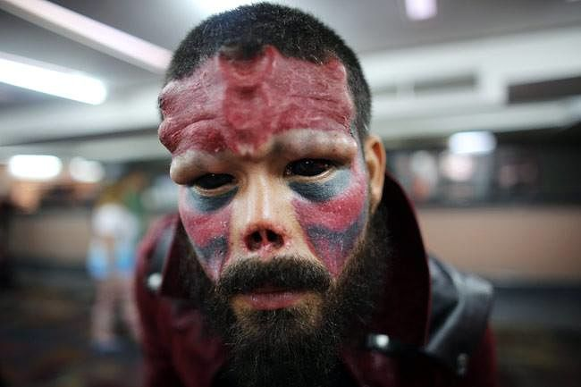 Weird And Spooky Extreme Tattoo On Face