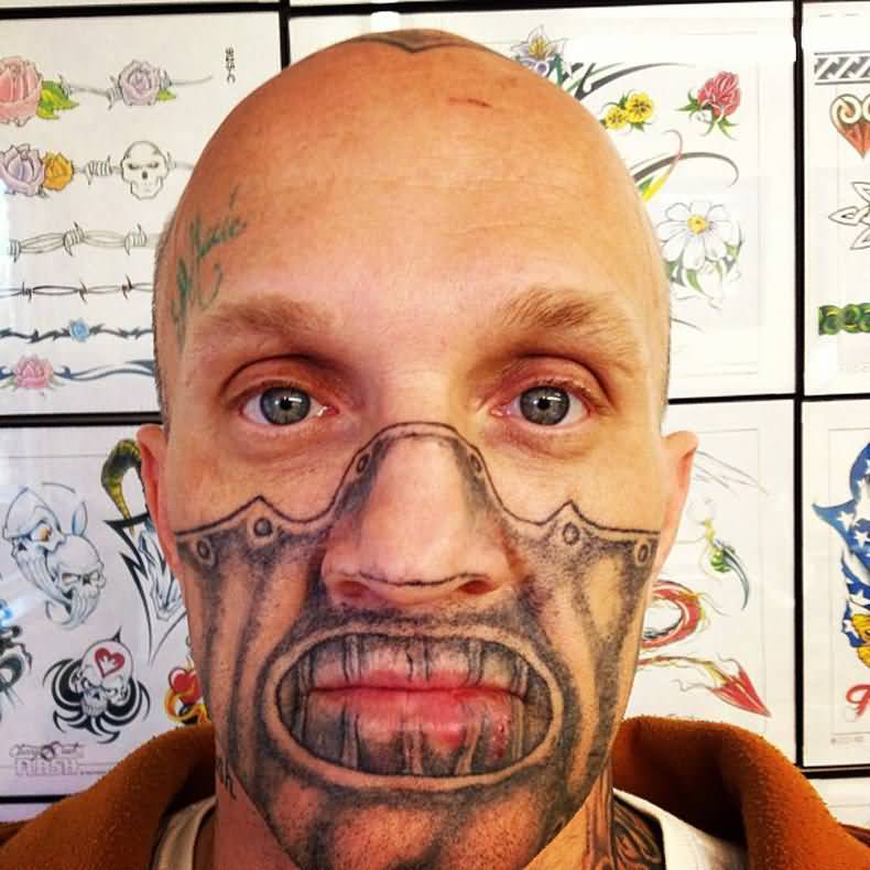 Weird Extreme Tattoo On Men Face (2)