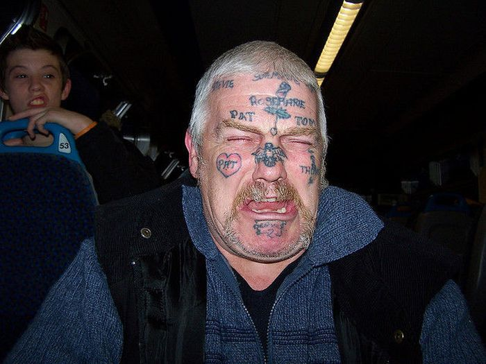 Weird Extreme Tattoo On Men Face