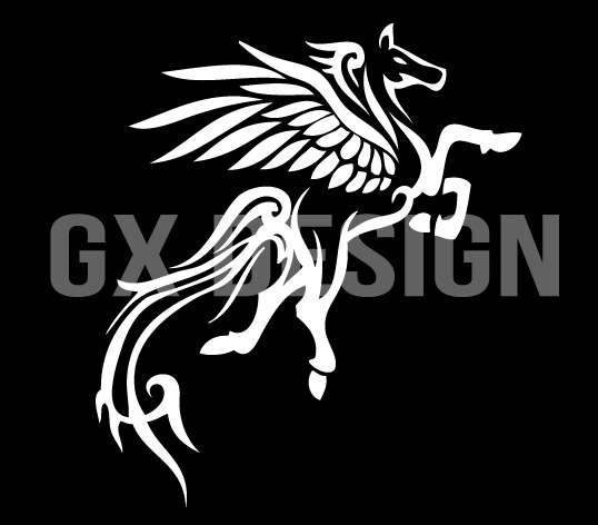 White Ink Nice Pegasus Tattoo Design Idea