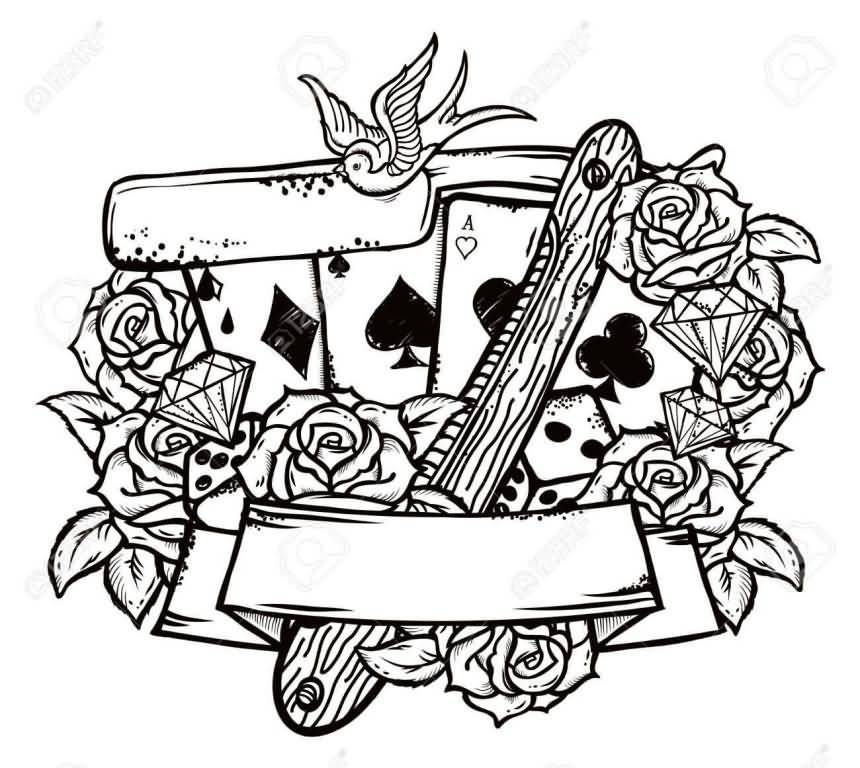 White Ink Nice Roses With Nice Playings Cards Old School Tattoo
